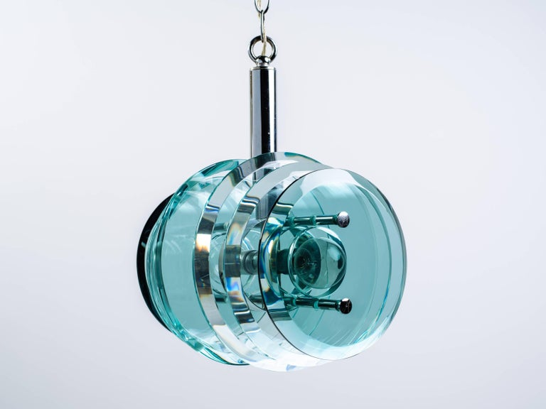 Blown Glass Mid-Century Modern Kinetic Green Glass Pendant Chandelier, Italy C. 1960s For Sale