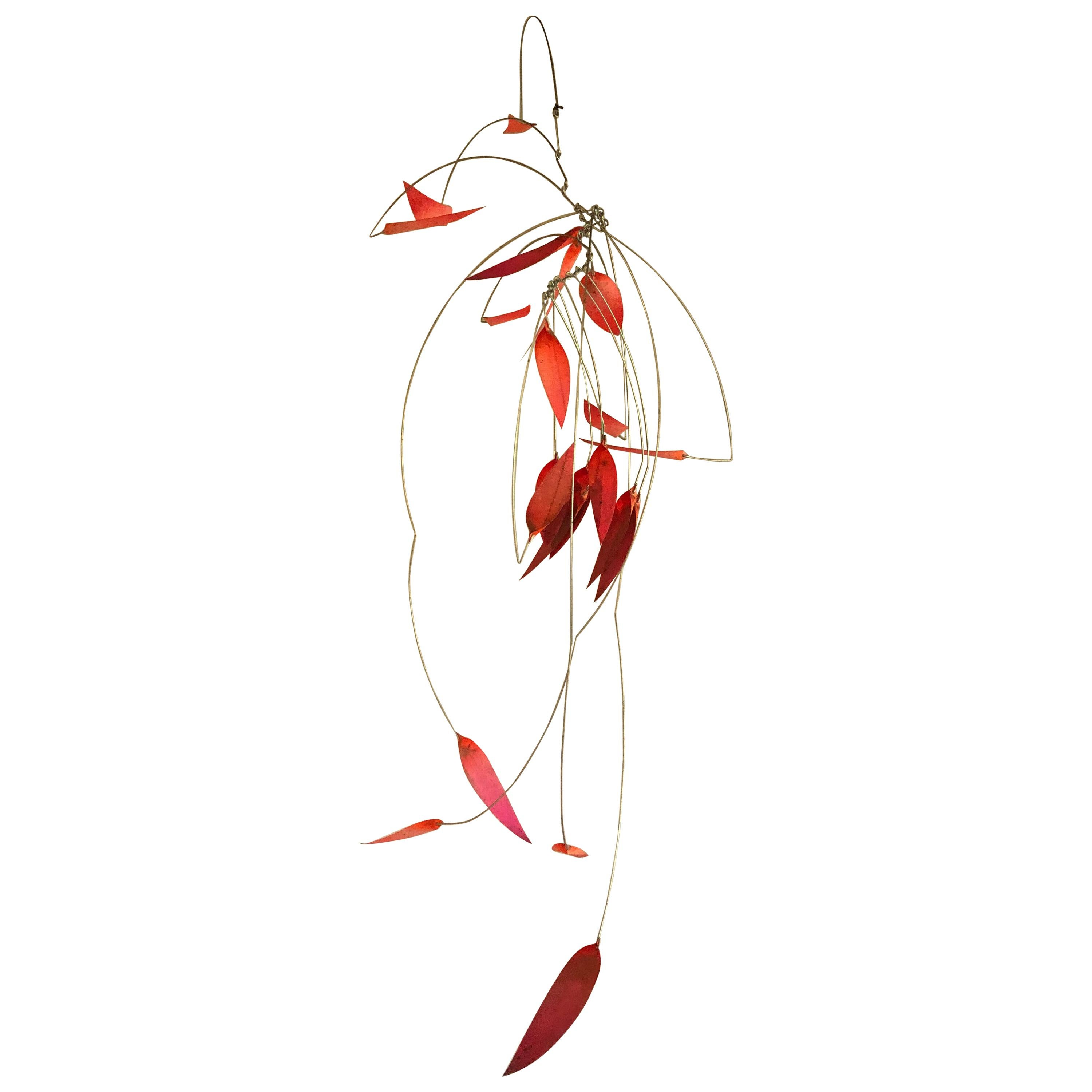 Mid-Century Modern Kinetic Mobile Sculpture in Red