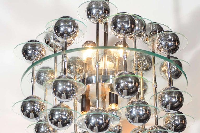 Mid-Century Modern Kinetic Orbital Chandelier with Chrome Spheres, C. 1950's For Sale 6