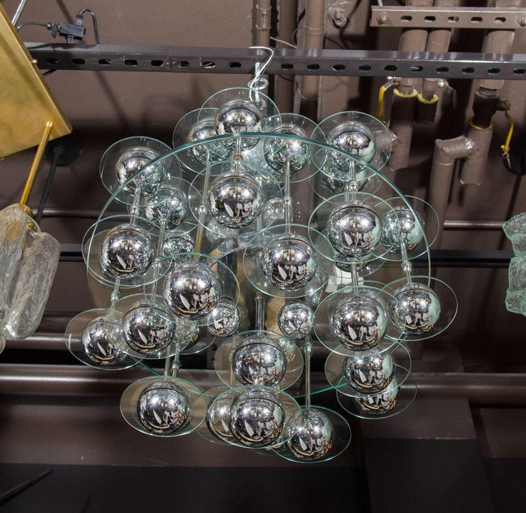 Polished Mid-Century Modern Kinetic Orbital Chandelier with Chrome Spheres, C. 1950's For Sale