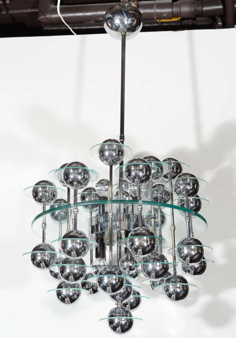 Mid-Century Modern Kinetic Orbital Chandelier with Chrome Spheres, C. 1950's In Good Condition For Sale In Fort Lauderdale, FL