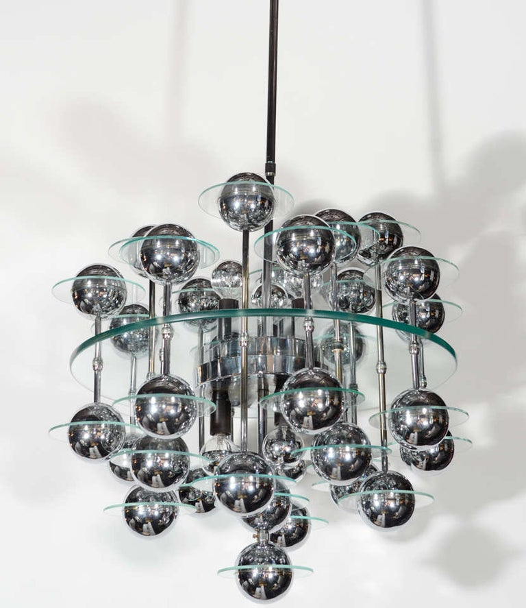 Mid-20th Century Mid-Century Modern Kinetic Orbital Chandelier with Chrome Spheres, C. 1950's For Sale