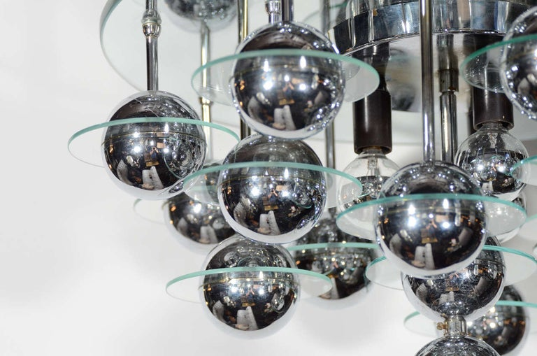 Cut Glass Mid-Century Modern Kinetic Orbital Chandelier with Chrome Spheres, C. 1950's For Sale