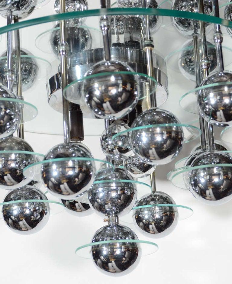 Mid-Century Modern Kinetic Orbital Chandelier with Chrome Spheres, C. 1950's For Sale 1