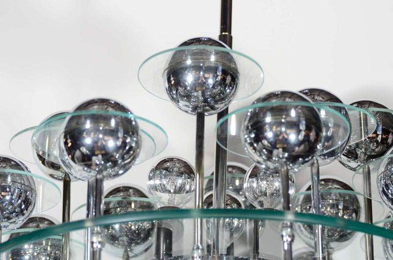 Mid-Century Modern Kinetic Orbital Chandelier with Chrome Spheres, C. 1950's For Sale 2