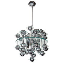 Mid-Century Modern Kinetic Orbital Chandelier with Chrome Spheres, C. 1950's