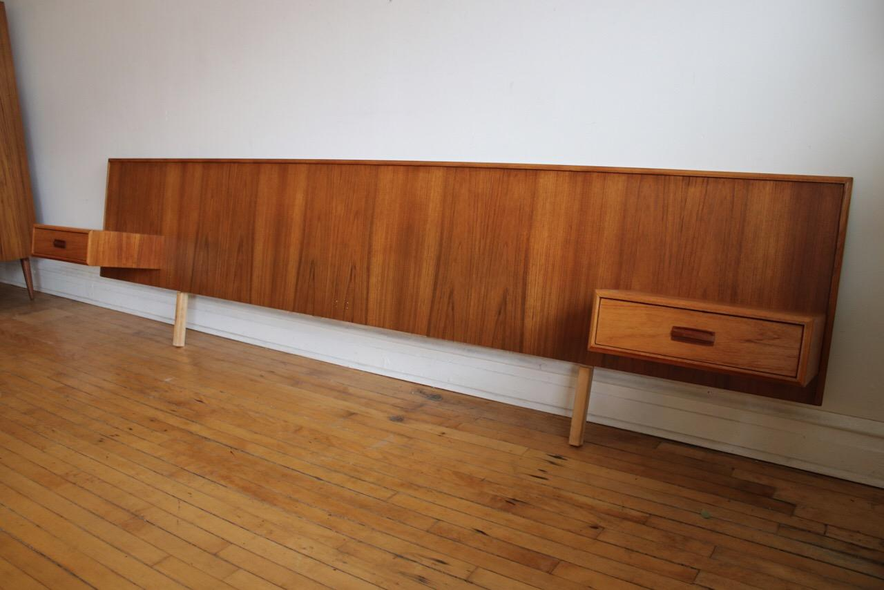 Mid Century Modern King Size Teak Headboard With Floating