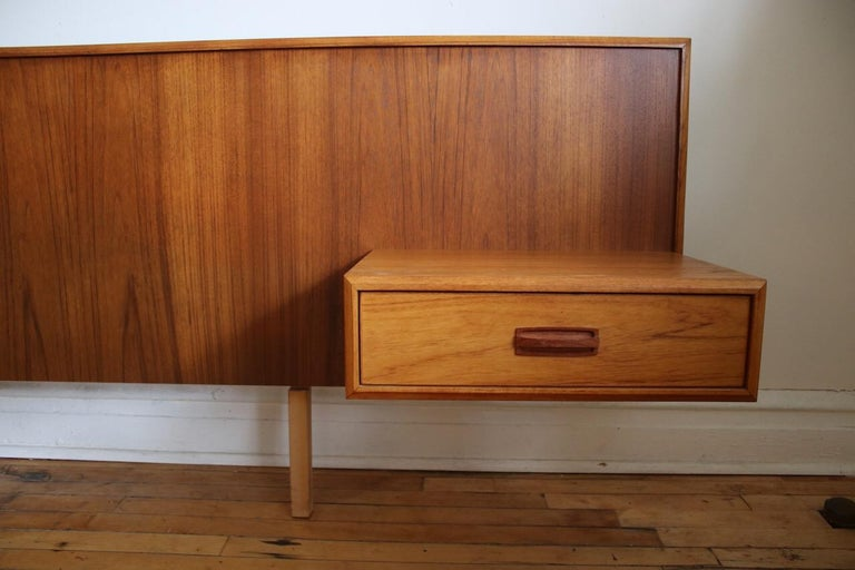 Mid-Century Modern King-Size Teak Headboard with Floating ...