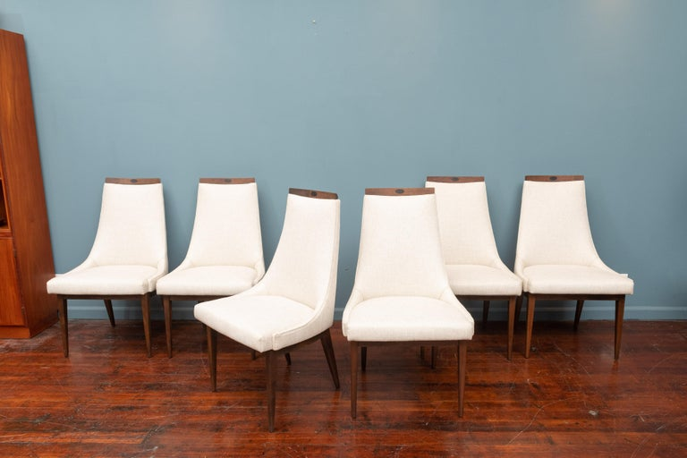 Mid-Century Modern Kipp Stewart design dining chairs for Calvin. Perfectly refinished walnut frames, newly upholstered in off white linen fabric. Very comfortable and ready to enjoy.