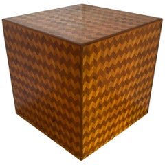 Mid-Century Modern Knock Out Geometric Zig Zag Inlaid Cube End Table