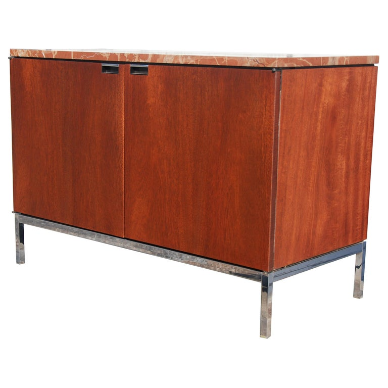 Mid-Century Modern Knoll Credenza with Rojo Marble Top For Sale