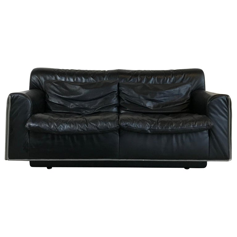 Mid Century Modern Knoll Two Seat Black Leather Sofa 1970s For Sale