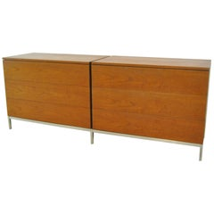 Mid-Century Modern Knoll Walnut Chests on Base Six Drawers