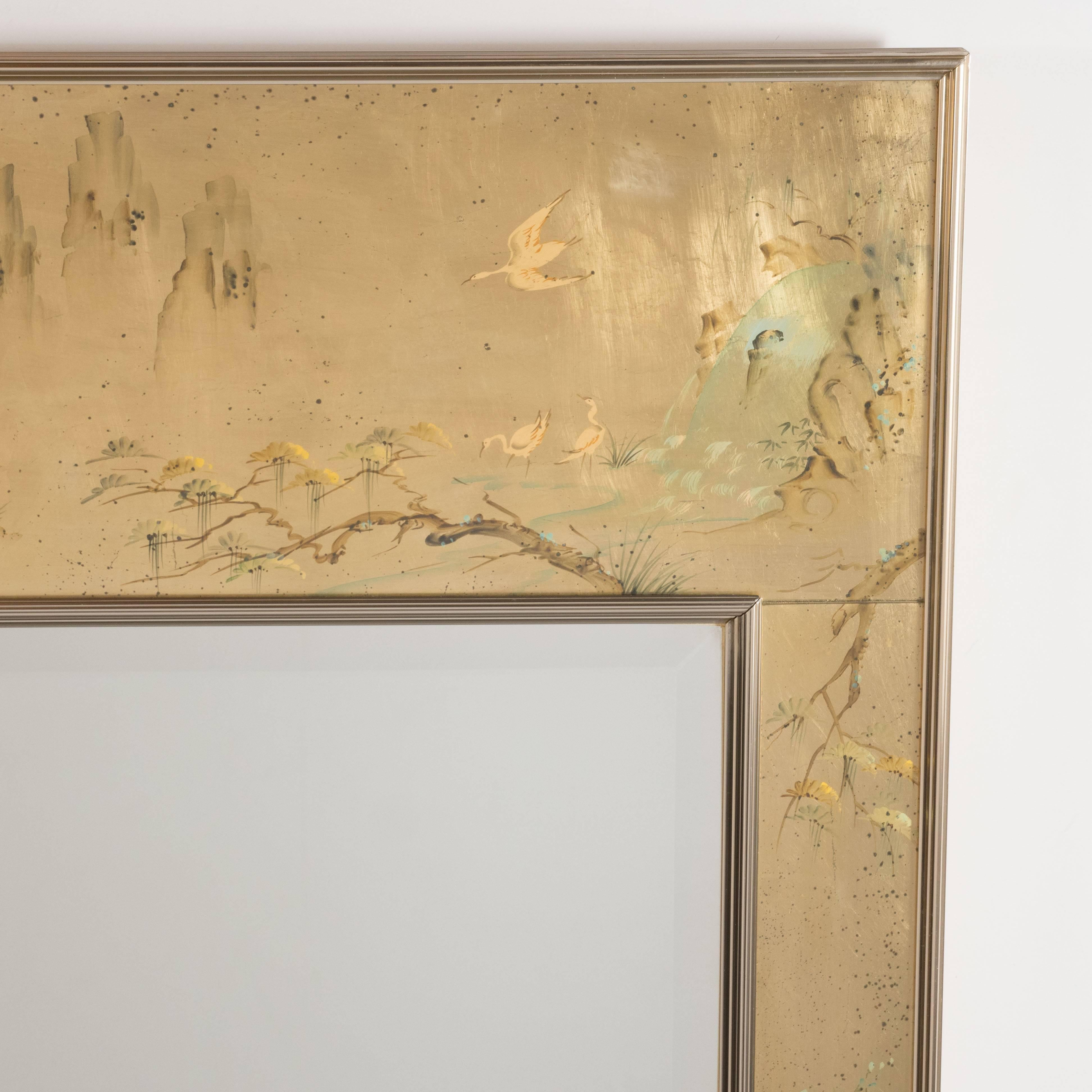 Mid-Century Modern La Barge Reverse Hand-Painted Glass Chinoiserie ...