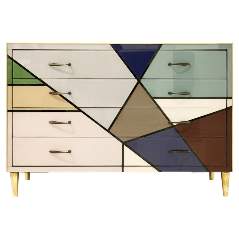 Mid-Century Modern L.A. Studio Murano Glass Italian Sideboard, 1950s For Sale
