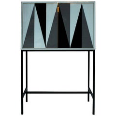 Mid-Century Modern L.A. Studio Solid Wood and Colored Glass Italian Cabinet