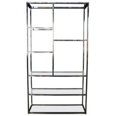 Mid-Century Modern Labarge Chrome and Glass Étagère Bookcase Curio Display Shelf