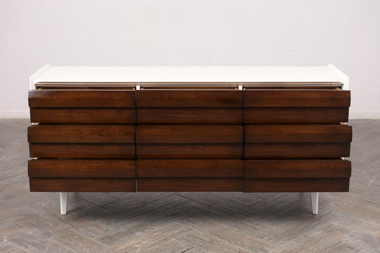Carved Mid-Century Modern Lacquered Chest of Drawers For Sale