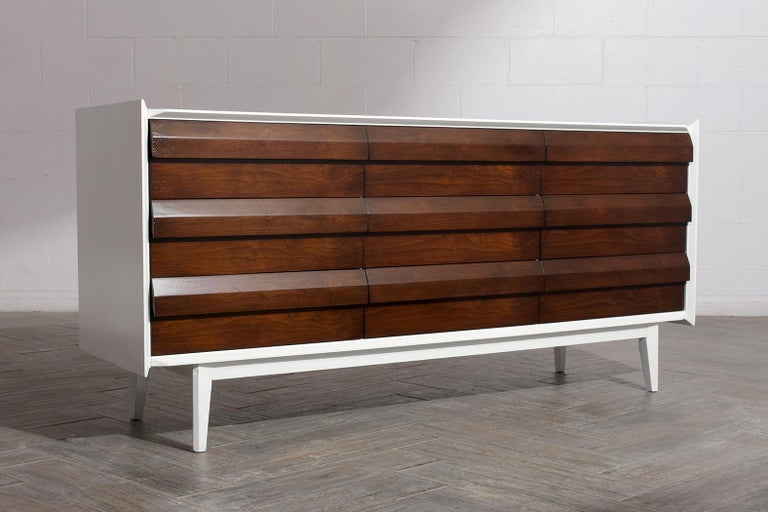 Walnut Mid-Century Modern Lacquered Chest of Drawers For Sale