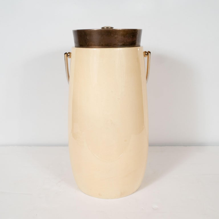 Italian Mid-Century Modern Lacquered Goat Skin and Brass Ice Bucket by Aldo Tura For Sale