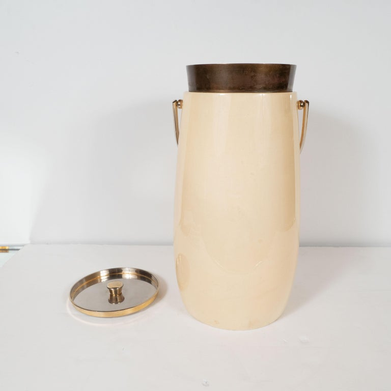 Mid-Century Modern Lacquered Goat Skin and Brass Ice Bucket by Aldo Tura For Sale 1
