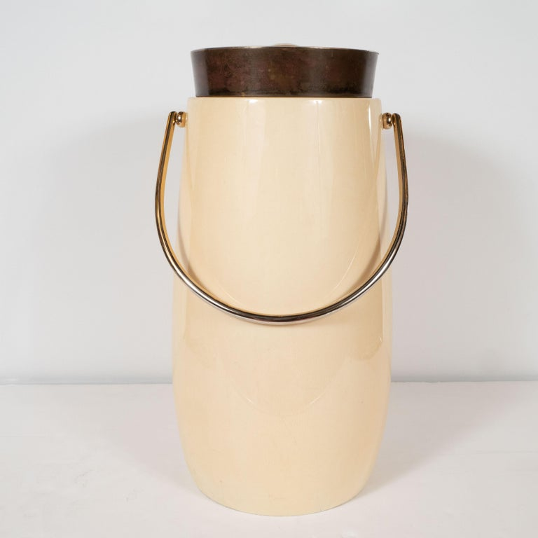 Mid-Century Modern Lacquered Goat Skin and Brass Ice Bucket by Aldo Tura For Sale 2