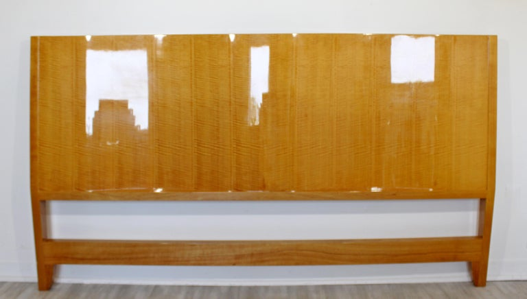 Late 20th Century Mid-Century Modern Lacquered Maple Wavy Curved King Size Headboard, 1970s For Sale
