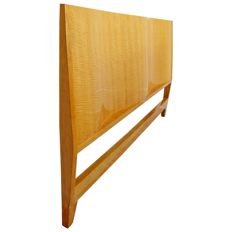 Mid-Century Modern Lacquered Maple Wavy Curved King Size Headboard, 1970s For Sale