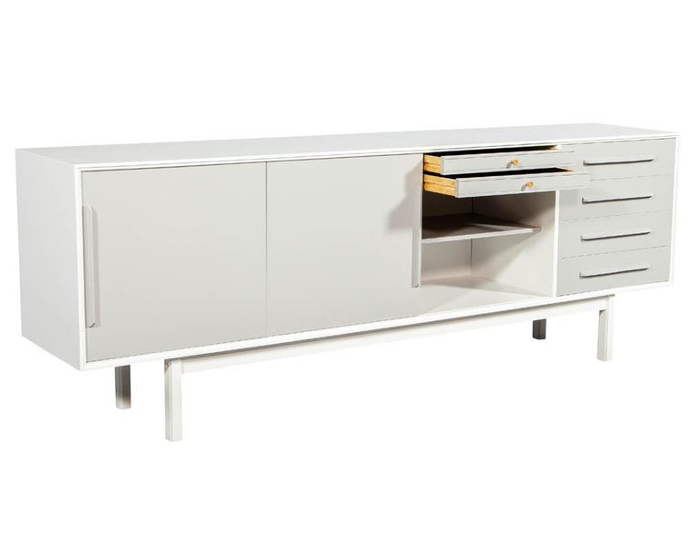 Wood Mid-Century Modern Lacquered Sideboard Media Cabinet For Sale
