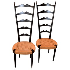 Mid-Century Modern Ladder Back Chairs Woven Rush Seat Paolo Buffa Italy, Pair