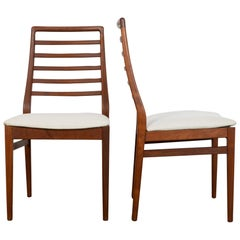 Mid-Century Modern Ladderback Danish Teak Chairs, a Pair