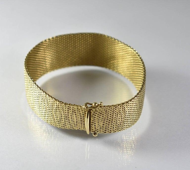 Mid Century Modern Ladies 14 Karat Mesh Bracelet With