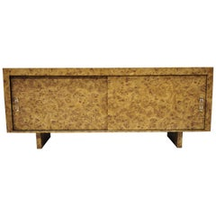 Mid-Century Modern Laminate Burl Wood Sliding Door Credenza Cabinet Sideboard