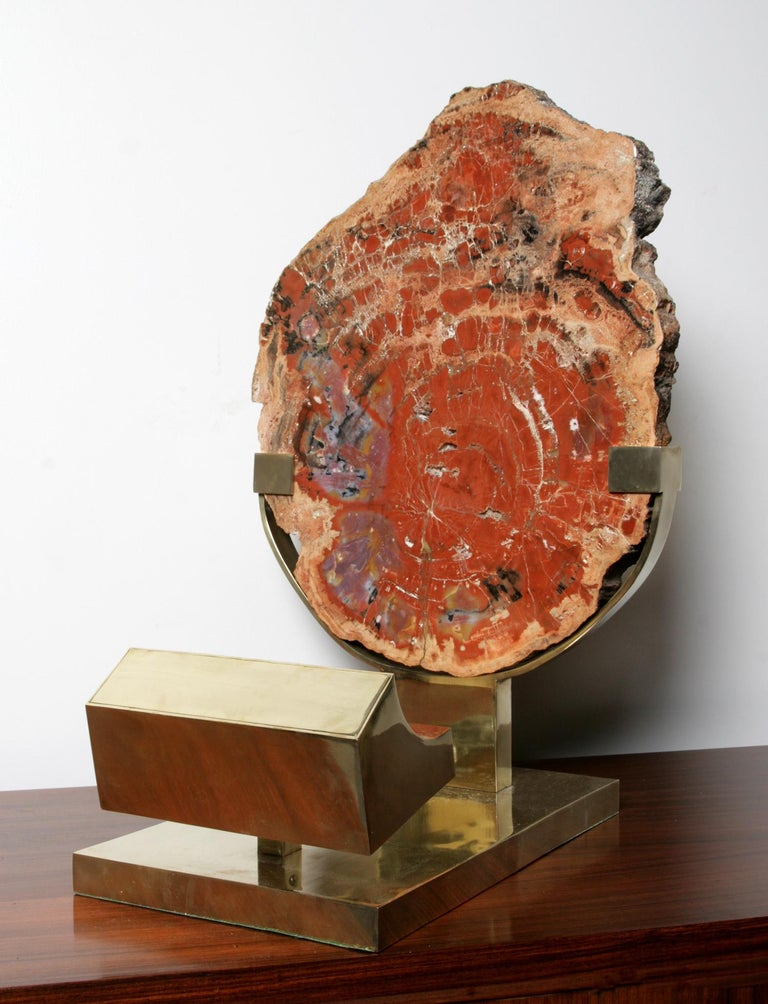 Brass table lamp with one light, which directs a beam onto a large slab of petrified wood. Signed to base. A unique piece.