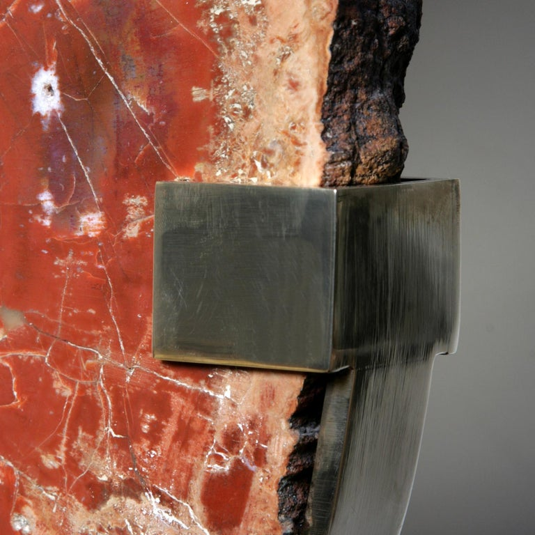 Late 20th Century Mid-Century Modern Lamp in Petrifies Wood by Ado Chale For Sale