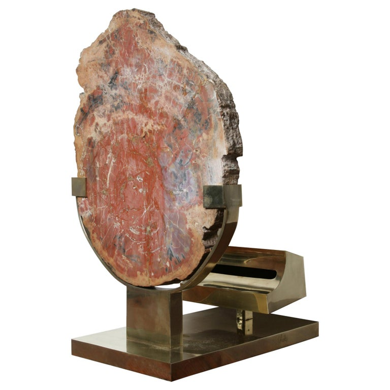 Mid-Century Modern Lamp in Petrifies Wood by Ado Chale For Sale