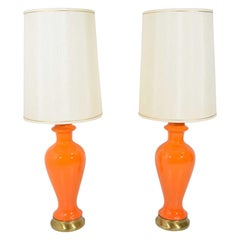 Mid-Century Modern Lamps in Orange Ceramic