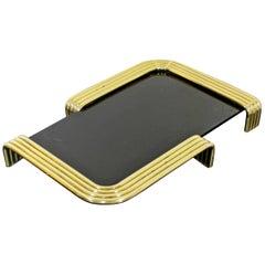 Mid-Century Modern Lancette Brass and Black Lucite Dresser Tray