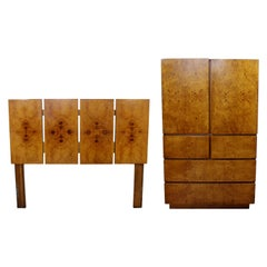 Mid-Century Modern Lane 2 Pc Burl Wood Bedroom Set Highboy Dresser Headboard