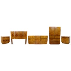 Mid-Century Modern Lane 5 Pc Burl Wood Bedroom Dresser Nightstands Headboard