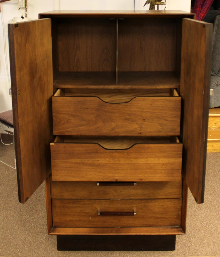 Mid Century Modern Lane 5 Pc Rosewood Bedroom Set Dresser Headboard Cabinet 70s For Sale 6