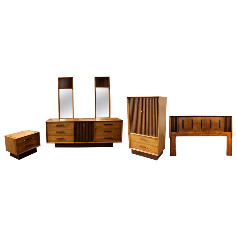 Mid Century Modern Lane 5 Pc Rosewood Bedroom Set Dresser Headboard Cabinet 70s For Sale