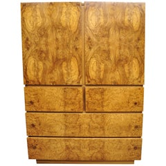 Mid-Century Modern Lane Art Deco Burl Wood Baughman Style Armoire Chest Dresser