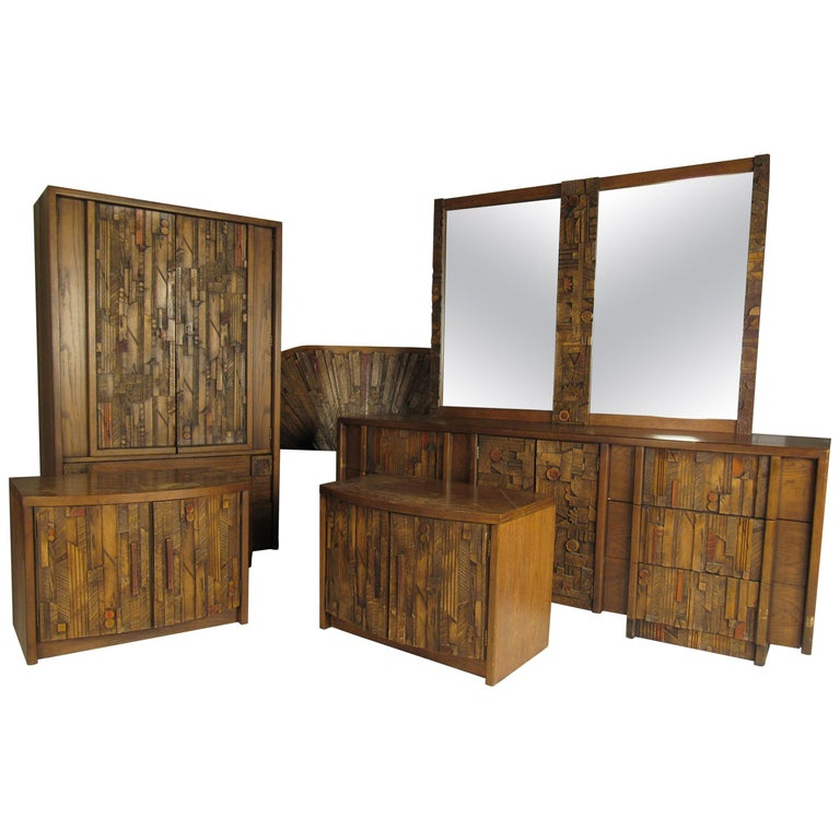 Mid-Century Modern Lane Brutalist Bedroom Set