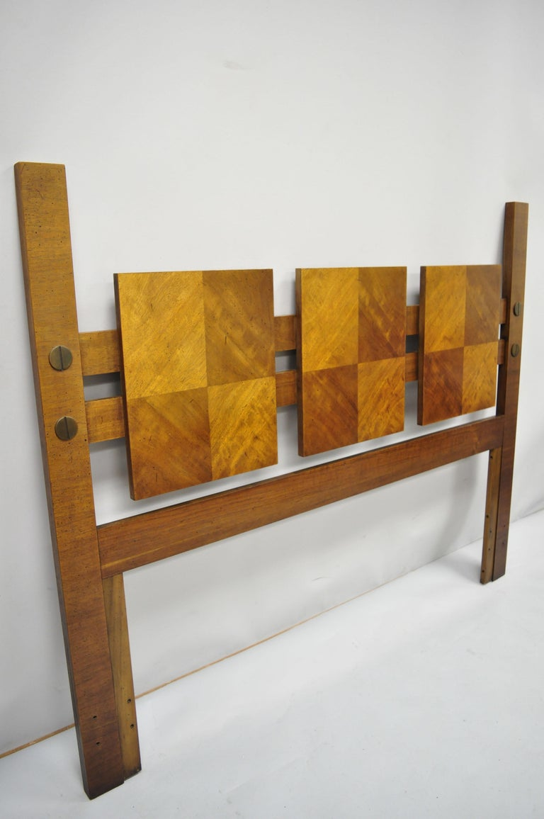 Mid-Century Modern lane Brutalist blockfront tall post bed queen or full headboard. Item features 3-panel design, tall posts, brass accents, beautiful wood grain, serial number 31 481-28 SER337219, clean modernist lines, great style and form, can be