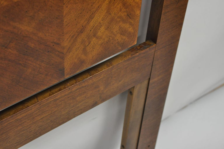 Wood Mid-Century Modern Lane Brutalist Blockfront Tall Post Bed Queen Full Headboard For Sale