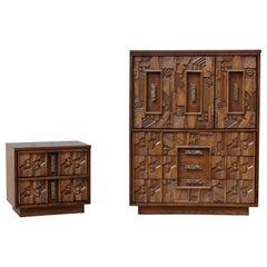 Mid-Century Modern Lane Brutalist Highboy Dresser & Nightstand Paul Evans Style