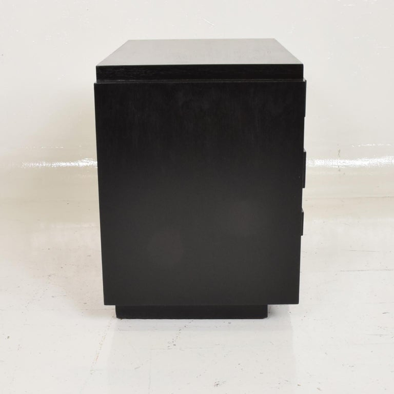 Mid Century Modern Lane Brutalist Nightstand in Ebonized Walnut Wood.  Made by Lane of Alta Vista, USA circa the 1970s.  Features Two doors with Detailed Mosaic Patchwork and Open storage.  Dimensions: 22 1/4