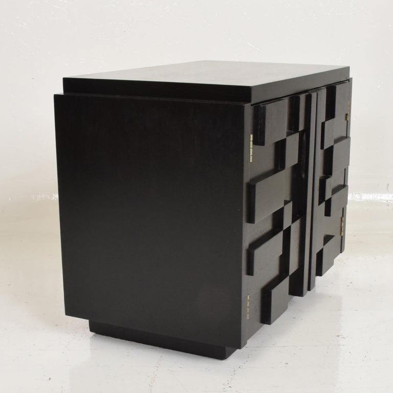 Mid-Century Modern Intricate Black Brutalist Mosaic Nightstand Ebonized Walnut Lane Altavista 1970s For Sale