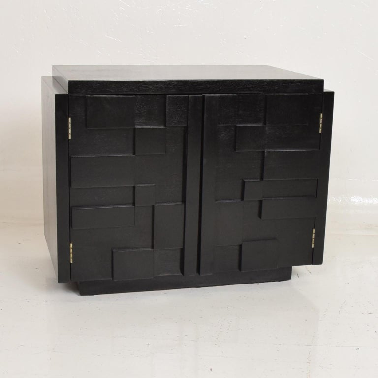 American Intricate Black Brutalist Mosaic Nightstand Ebonized Walnut Lane Altavista 1970s For Sale